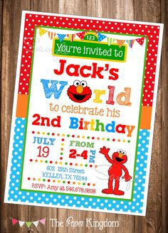 Elmo Invitations, PRINTABLE Elmo Invitations, Elmo's World Invite, Elmo Birthday Invitation, Digital Elmo Invites