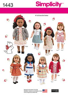 Simplicity 1443 Pattern to make clothes for American Girl dolls - NEW! Sewing Doll Clothes, American Doll Clothes, Sewing Dolls, Girl Doll Clothes, Girl Dolls, American Dolls, Ag Dolls, Doll Sewing Patterns, Simplicity Sewing Patterns