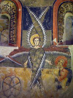 Circle of the Master of Pedret. Seraphim, The Archangel Rafael. Apse of Santa María d'Àneu. 1200s.