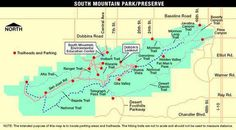 See a trail map of South Mountain Park in Phoenix, AZ. This map will help you find parking areas and trailheads.