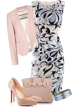 A fashion look from March 2013 featuring Emilio Pucci dresses, By Malene Birger blazers and Christian Louboutin pumps. Browse and shop related looks. Classy Outfits, Stylish Outfits, Beautiful Outfits, Gorgeous Dress, Mode Outfits, Office Outfits, Office Wardrobe, Capsule Wardrobe, Work Fashion
