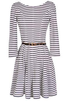 Ships Ahoy Belted Stripe Designer Dress//