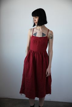 Mathilde Washed Linen Dress - Red | Ovate