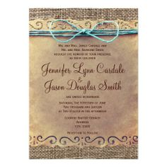 Rustic Country Vintage Burlap Wedding Invitations with a printed teal turquoise twine bow design.