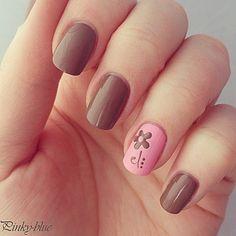 Pink & brown nails