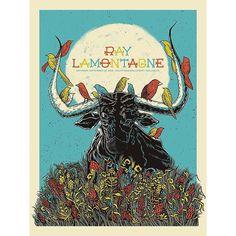 Ray LaMontagne poster for South Side Ballroom in Dallas, TX on September 24, 2016. Designed by John Vogl.