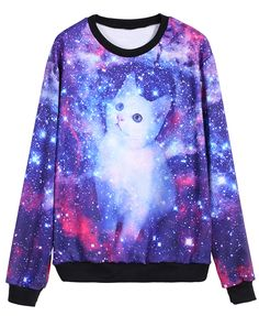 Blue Galaxy Cat Print Loose Sweatshirt 13.33
