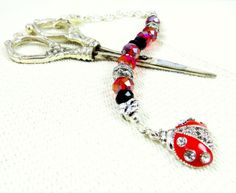 Handmade beaded ladybug scissors fob red black silver faceted glass bead Swarovski free scissors mothers day sewing crafting tagt team rdtt