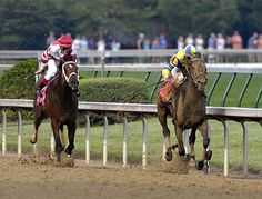 Street Sense leads Hard Spun on his way to winning the 2007 Kentucky Derby