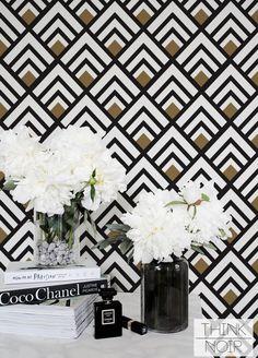 Geometric Removable Wallpaper / Trendy Self Adhesive Removable Wallpaper / Geometric Wall Mural / Art Deco