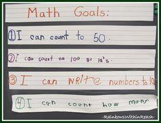 Making Math Meaningful: Building a Math Foundation - I like this. Students write their own math goals! Kindergarten Math Activities, Kindergarten Teachers, Math Classroom, Teaching Math, Teaching Ideas, Classroom Ideas, Classroom Helpers, Future Classroom, Math Games