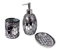 glitter bathroom accessories | ... silver black sparkle mosaic glass tile bathroom accessory set deco