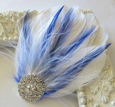 Bridal Wedding , Royal Blue, White Bridesmaid Feather Hair Accessory, Feather Fascinator, Bridal Hair Piece, Lavender Pink Purple  Hair Clip