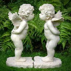 Cherub Statues | Pair Of Kissing Cherub Garden Statues - Garden Ornaments Direct
