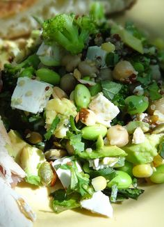 Quinoa Salad with Chickpeas, Edamame & Broccoli with Feta & Nuts