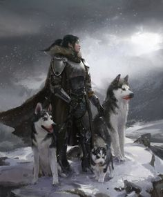 Female warrior in armor with three huskies.
