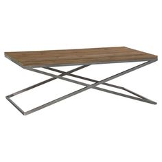 Display a decorative centerpiece and fresh florals on this rustic-chic coffee table, showcasing an upcycled oak wood top and stainless steel base.