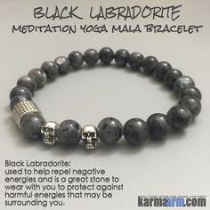 PROTECTION: Black Labradorite • Skulls Yoga Mala Bead Bracelet