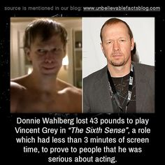 "The Sixth Sense. Donnie Wahlberg lost 43 pounds to play Vincent Grey in ""The Sixth Sense"", a role which had less than 3 minutes of screen time, simply to prove to people that he was serious about acting. World History Lessons, History Books, History Facts, Good To Know, Did You Know, Interesting Information, Interesting Facts, Donnie Wahlberg, Movie Facts"