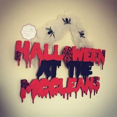 Personalised Halloween sign in spooky font with spider web detail By Epiphany Designs NI  Orders can be placed via website or Facebook