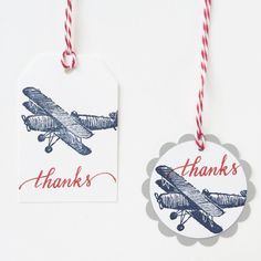 Vintage Airplane Thank You Tags by LeroyLime on Etsy