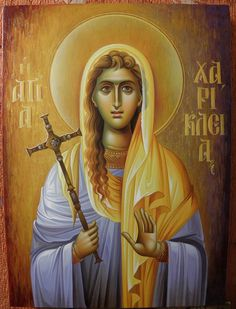 Icon of St Charikleia--aka Haraklia--of the 40 Virgins Religious Images, Religious Icons, Religious Art, Byzantine Icons, Byzantine Art, Christian Mysticism, Church Icon, Saint Barbara, Roman Church