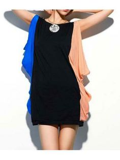 a4be59eda2 Simple Round Neck Color Block Dress for Party