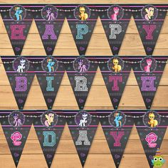 My Little Pony Birthday Banner Chalkboard Flowers * My Little Pony Happy Birthday Banner * My Little Pony Sign * My Little Pony Favors