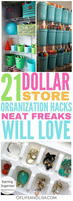 Dollar Store Organization Hacks You'll Love Neat freaks everywhere will love these dollar store organization hacks!Neat freaks everywhere will love these dollar store organization hacks! Organisation Hacks, Organizing Hacks, Office Organization, Cleaning Hacks, Dollar Store Organization, Organising, Organizing Clutter, Small Space Organization, Cleaning Closet
