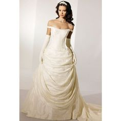 Princess Off The Shoulder Wedding Dresses ❤ liked on Polyvore- Almost exactly like my dream dress!