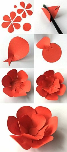 Bastelideen mit Papier: DIY Papierblume aus orangem Karton.