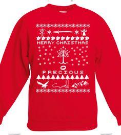 Merry Christmas Precious, Ugly Christmas Sweatshirt, Nerd Girl Tees, lotr Christmas