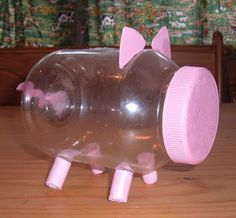 Piggy bank out of peanut butter jar. I knew I was saving those jars for something!