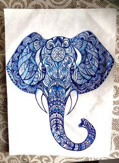 Madhubani Painting, Zentangles, Mandala Design, Quilting, Elephant, Arts And Crafts, Ink, Drawings, Artwork