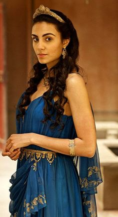 Atlantis BBC; Princess Ariadne. Blue Grecian dress with gold detailing
