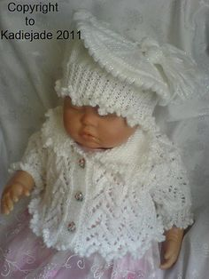A knitting pattern to make a 3 piece set for a 3-6 months baby or a 20-22 inch reborn doll.