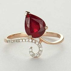 Jewels Imported from the United States. Gold Rings Jewelry, Red Jewelry, Diamond Jewelry, Gemstone Rings, Fashion Jewelry, Ring Necklace, Ring Designs, Jewelry Collection, Heart Ring