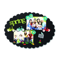 Create your own Memo Boards with magnetic frames and embellishments. Change out colorful magnets and favorite photos for unique year round displays. Spring and Bicycle Magnets from Embellish Your Story by Roeda.