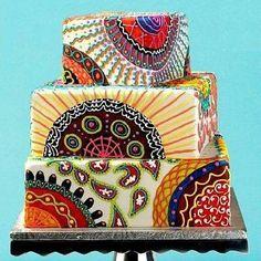 African inspired wedding cake.