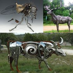 Recycling art using car parts