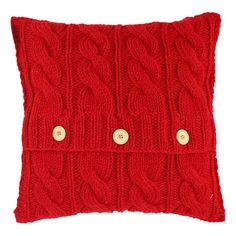 A  addition to your country cottage, this plush cushion features a knitted finish and three button detail. Display alongside neutral soft furnishings and a s...