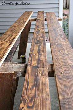Built-in Coffee Bar Makeover DIY Rustic Wood Counter Stain and Poly by Creatively Living