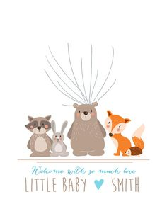Woodland Baby shower guestbook thumbprint by Anietillustration Love it in blue for Mason's room :) but wouldn't use fingerprints, would use small cutout balloon shapes people sign and then assemble on our own at a later time :)