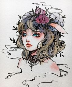 Day the halfbreed 🌟 i think horns are lovely 💖 Pretty Art, Cute Art, Witch Art, Art Sketchbook, Cool Drawings, Art Inspo, Art Reference, Amazing Art, Watercolor Art
