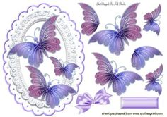 PRETTY LILAC PINK BUTTERFLIES IN ORNATE FRAME on Craftsuprint designed by Nick Bowley - PRETTY LILAC