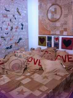 Bedspread, pillows and wall art. Ali Lamu