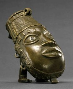 Nigeria/Benin. Brass Vessel representing Ofoe, the messenger god of death.  From the Benin Kingdom, ca. 18th - 19th century