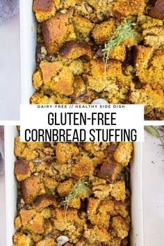 Gluten-Free Dairy-Free Cornbread Stuffing for Thanksgiving - a healthier cornbread recipe #thanksgiving #sidedish #glutenfree #glutenfreedairyfree #stuffing #dressing #carbs #healthyliving