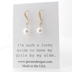 Gold-Filled Swarovski White Pearl Earrings by jjensenweddings
