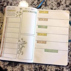 "189 Likes, 9 Comments - Heidi Currie (@thebulletjournaladdict) on Instagram: ""Next week's spread. I decided to continue the botanical theme I started last week and used…"""